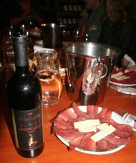 Meat, cheese and wine